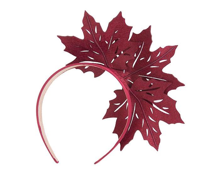 Fascinators Online - Burgundy Laser Cut felt Maple Leaves on a Headband 4