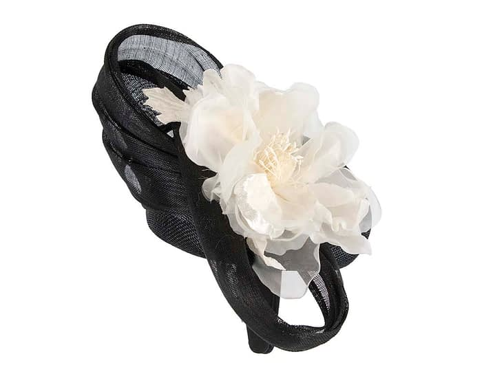 Fascinators Online - Black & Cream pillbox fascinator with large flower by Fillies Collection 4