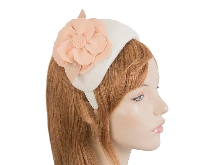 Fascinators Online - Wide headband cream winter fascinator with nude flower by Max Alexander 2