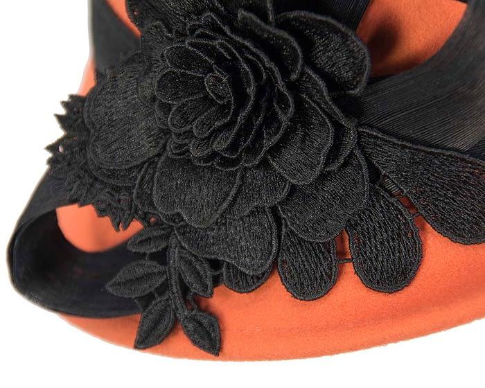 Fascinators Online - Exclusive orange felt cloche hat with lace by Fillies Collection 4
