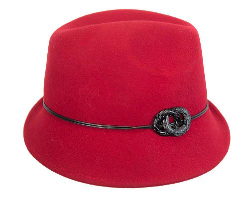 Fascinators Online - Red felt trilby hat by Max Alexander 5