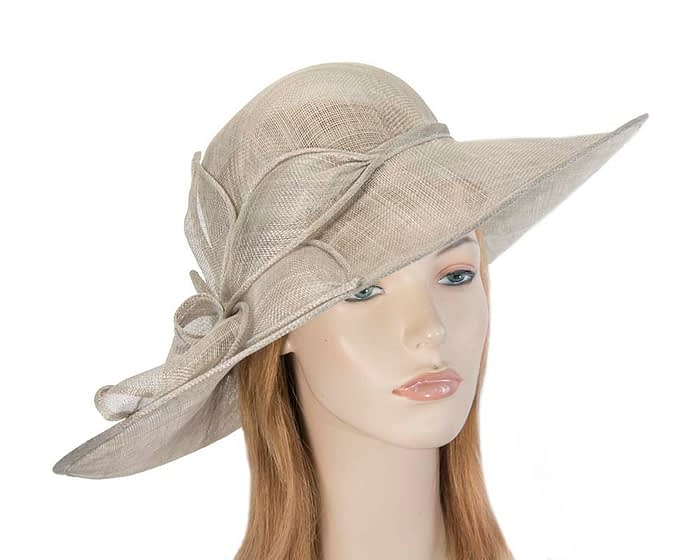 Fascinators Online - Large silver fashion hat by Max Alexander 1