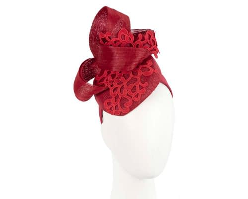 Fascinators Online - Red pillbox fascinator with lace by Fillies Collection 1