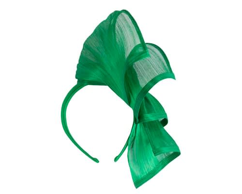 Fascinators Online - Green twists of silk abaca fascinator by Fillies Collection 4