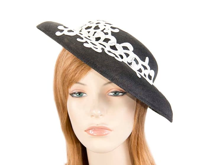 Fascinators Online - Black & white fashion boater hat with lace by Max Alexander 1