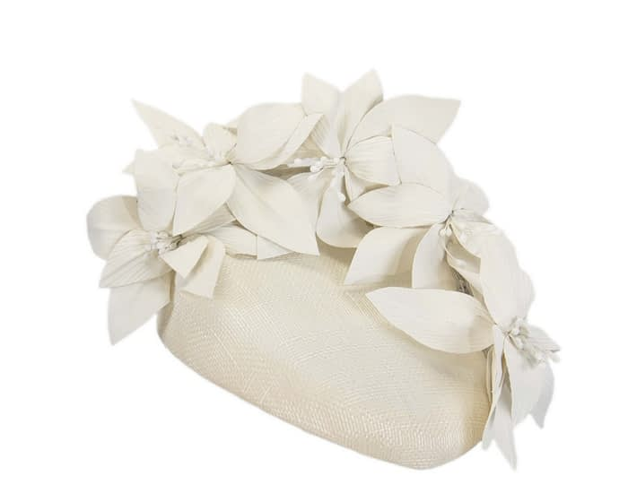 Fascinators Online - Cream leather flower pillbox fascinator by Fillies Collection 2