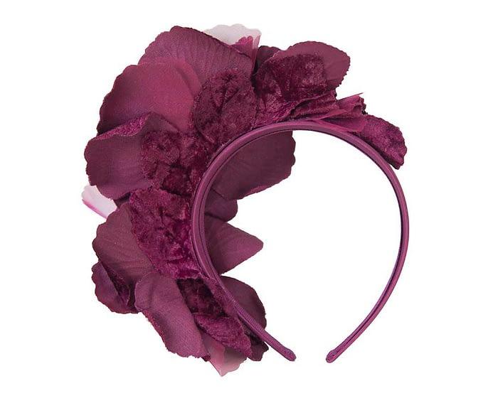 Fascinators Online - Burgundy flowers on the headband 4