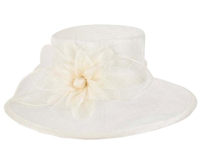Fascinators Online - Wide brim cream sinamay fashion hat by Max Alexander 2