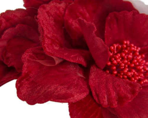 Fascinators Online - Red flowers on the headband 3