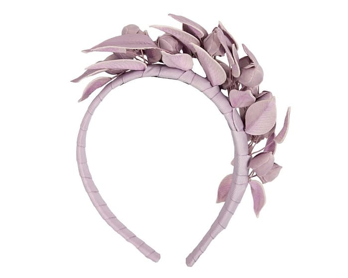 Fascinators Online - Lilac leather hand-made racing fascinator by Max Alexander 4