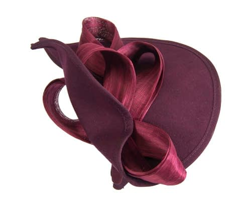 Fascinators Online - Burgundy felt twist with bow by Fillies Collection 5