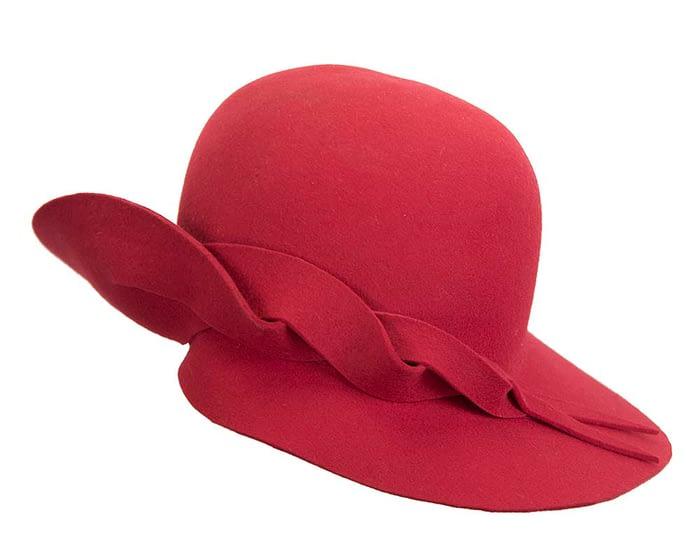 Fascinators Online - Unusual red felt wide brim hat by Max Alexander 3