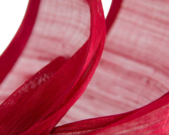 Fascinators Online - Red twists of silk abaca fascinator by Fillies Collection 3