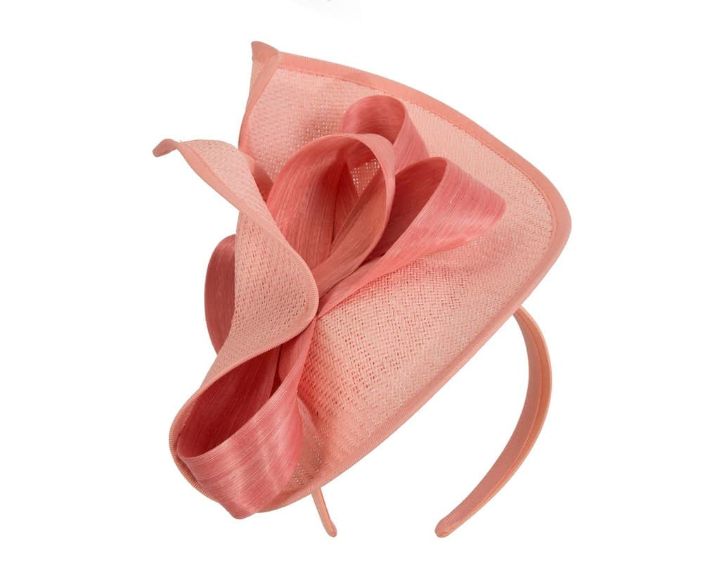 Coral fascinator with bow by Fillies Collection