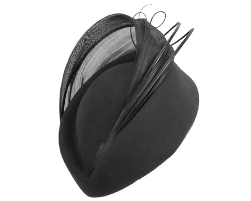 Fascinators Online - Black felt ladies fashion beret hat with feather by Fillies Collection 2