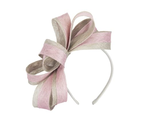 Fascinators Online - Pink & silver loops of sinamay racing fascinator by Max Alexander 2