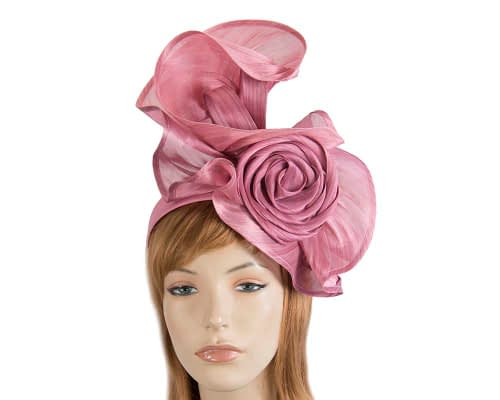 Fascinators Online - Dusty Pink sculptured silk abaca fascinator by Fillies Collection 1