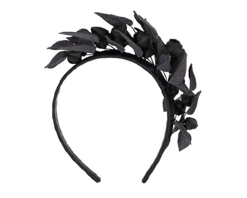 Fascinators Online - Black leather hand-made racing fascinator by Max Alexander 4