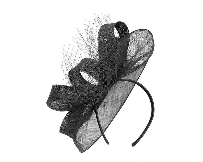 Fascinators Online - Large black sinamay fascinator by Max Alexander 4