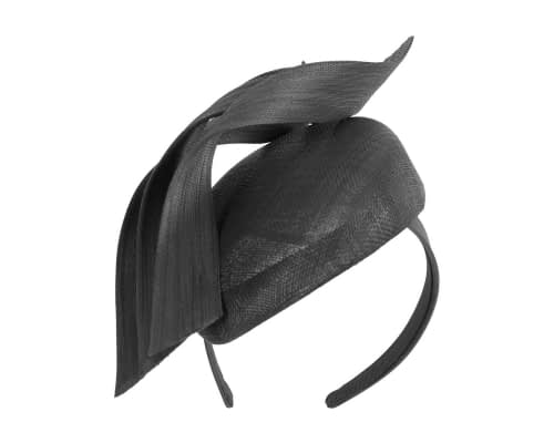 Fascinators Online - Black pillbox racing fascinator with jinsin trim by Fillies Collection 2