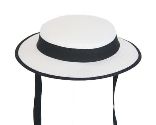 Fascinators Online - Small white & black boater fascinator hat by Max Alexander 2