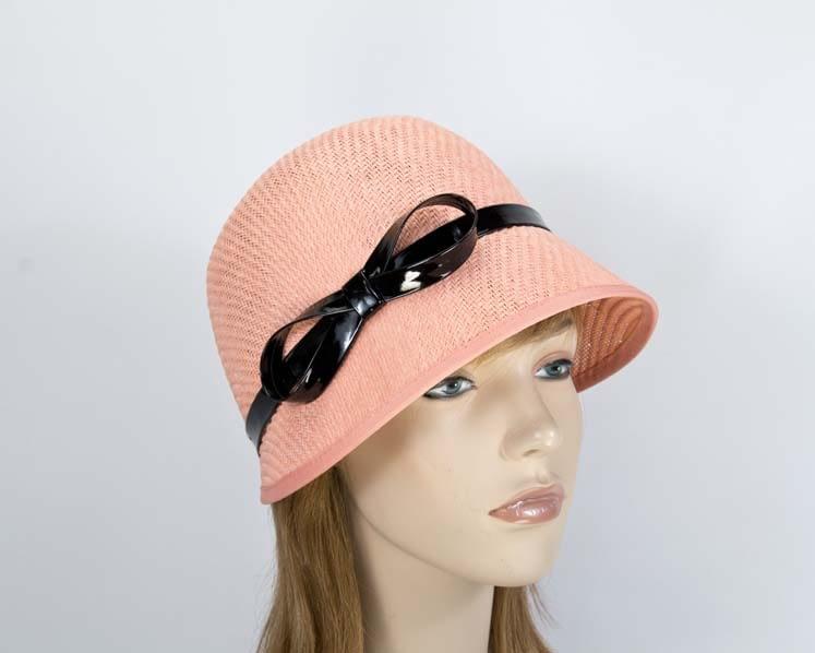 Coral cloche bucket racing hat