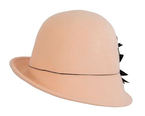 Fascinators Online - Beige felt cloche hat with lace by Max Alexander 3