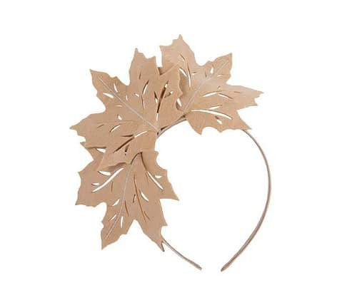 Beige laser-cut felt fascinator by Max Alexander