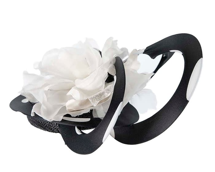Fascinators Online - Large designers black and ivory fascinator by Fillies Collection 3