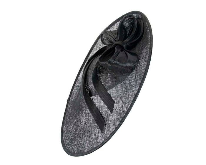 Fascinators Online - Large black fascinator hat with bow 2