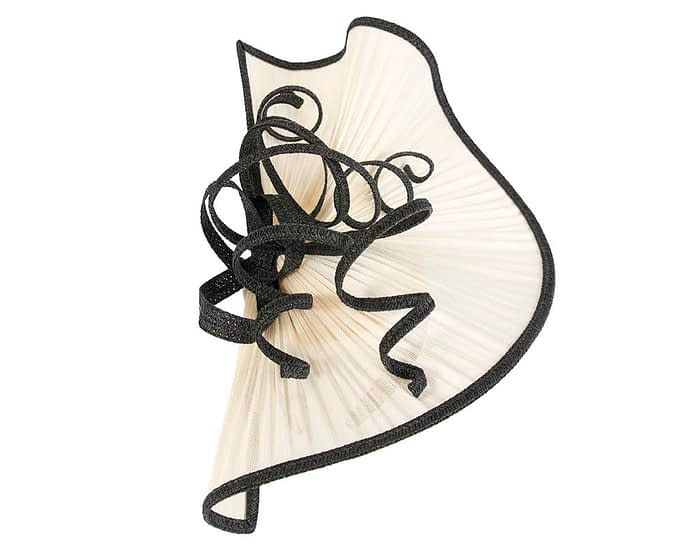 Fascinators Online - Large cream and black jinsin racing fascinator by Fillies Collection 3