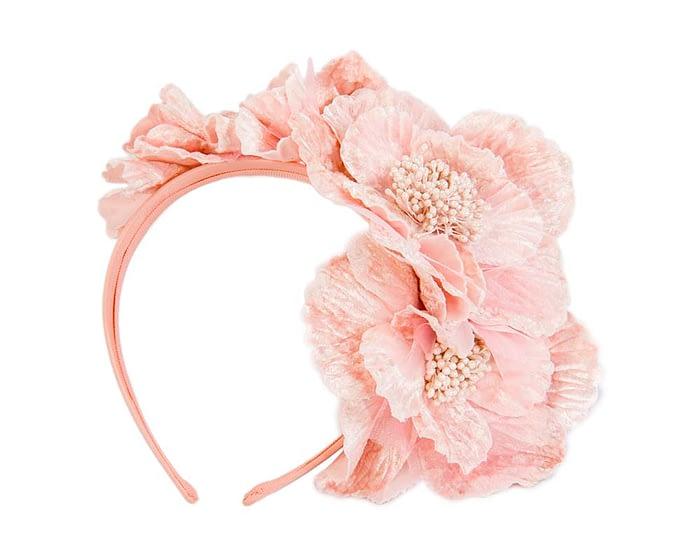 Fascinators Online - Pink flowers on the headband 2