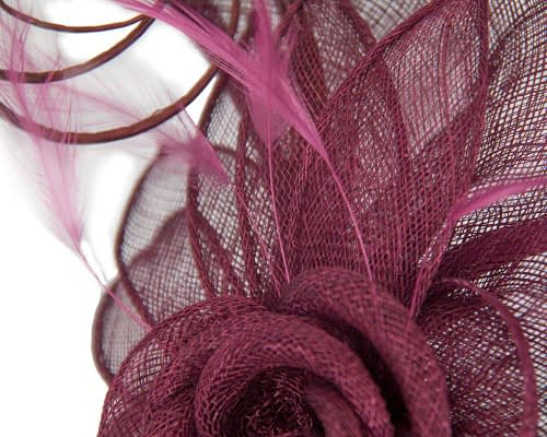 Fascinators Online - Large burgundy wine sinamay racing fascinator with feathers by Max Alexander 4
