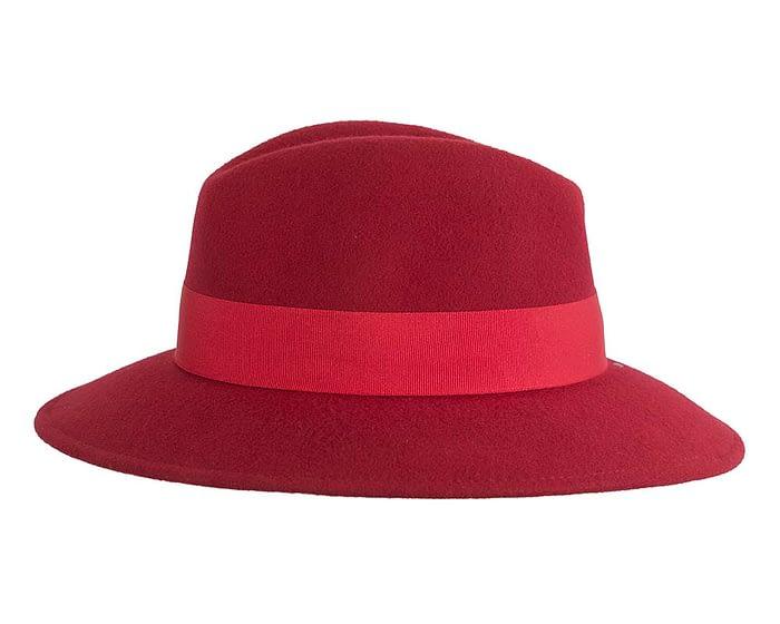 Fascinators Online - Wide brim dark red felt fedora hat by Max Alexander 3