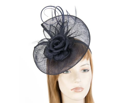 Fascinators Online - Large navy sinamay racing fascinator with feathers by Max Alexander 1