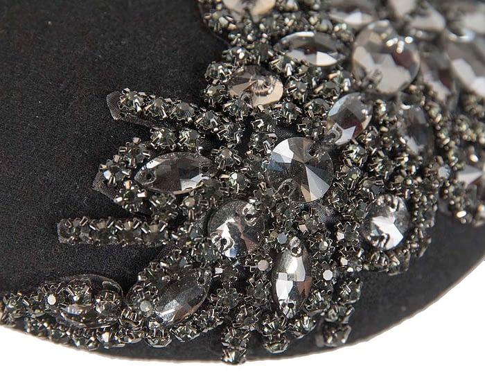 Fascinators Online - Black round pillbox with jewels 3