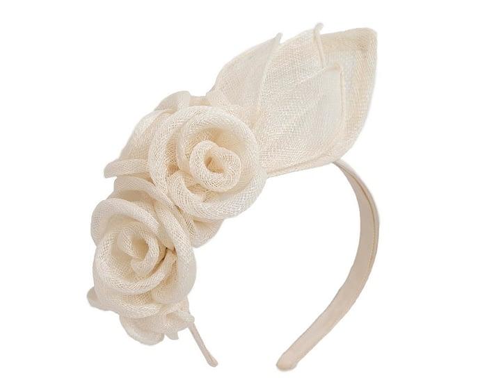 Fascinators Online - Large cream flower headband fascinator by Max Alexander 2