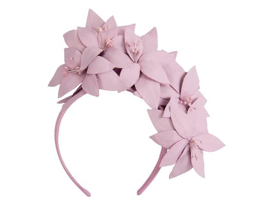 Fascinators Online - Lavender leather flower headband by Fillies Collection 2