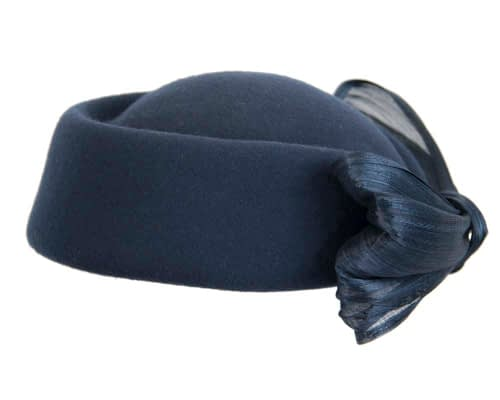 Fascinators Online - Navy felt ladies fashion beret hat with bow by Fillies Collection 4