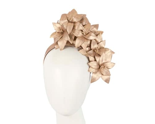 Fascinators Online - Gold leather flower headband by Fillies Collection 4