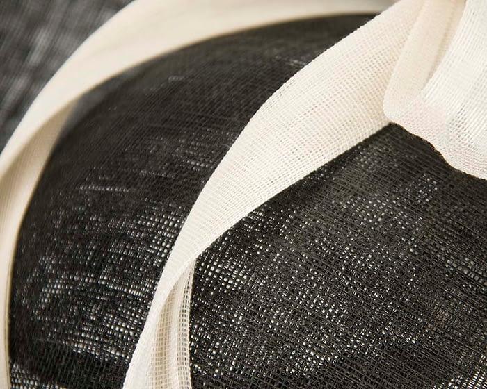 Fascinators Online - Large black fascinator hat with cream bow 4