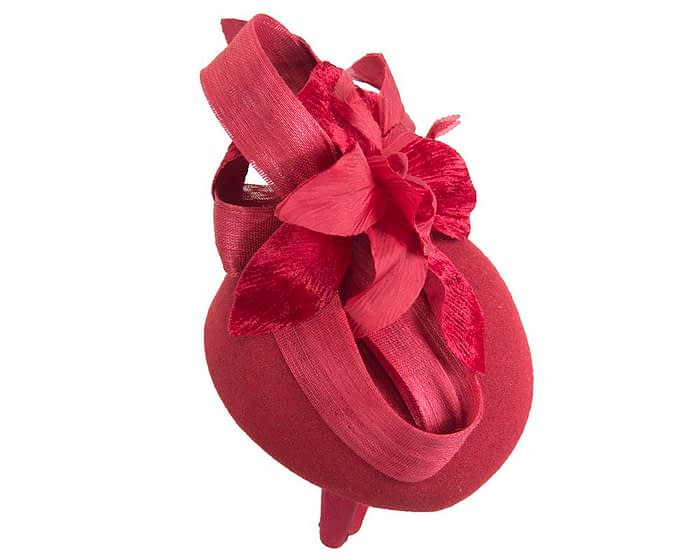Fascinators Online - Tall red felt pillbox with flower by Fillies Collection 3
