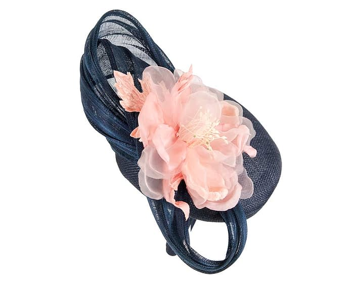 Fascinators Online - Navy pink pillbox fascinator with large flower by Fillies Collection 4