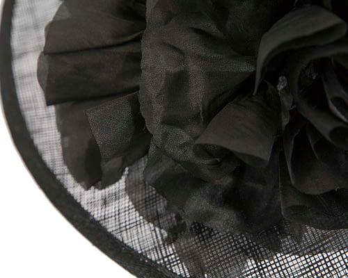 Fascinators Online - Black ladies sinamay racing hat with flower by Max Alexander 4