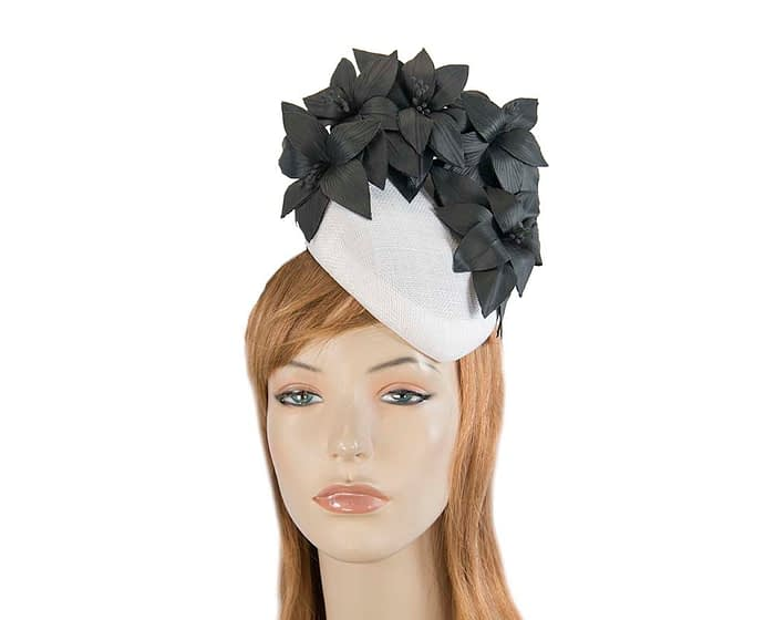 Fascinators Online - White & black leather flower pillbox fascinator by Fillies Collection 1