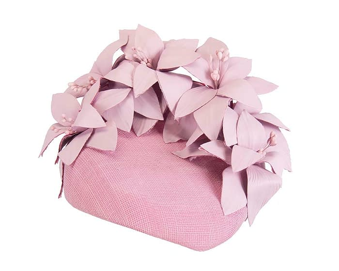 Fascinators Online - Lilac leather flower pillbox fascinator by Fillies Collection 2