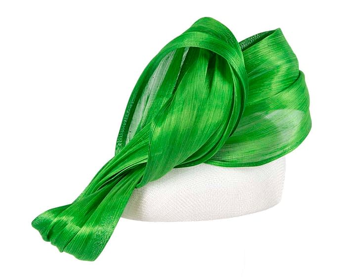 Fascinators Online - White pillbox with lime bow by Fillies Collection 3