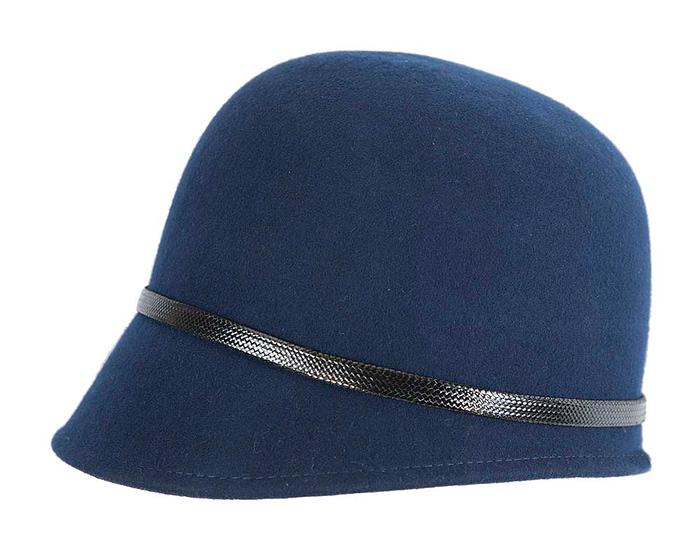 Fascinators Online - Navy felt cloche hat by Max Alexander 3