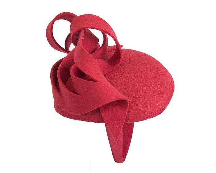 Fascinators Online - Unusual red felt pillbox fascinator by Fillies Collection 4