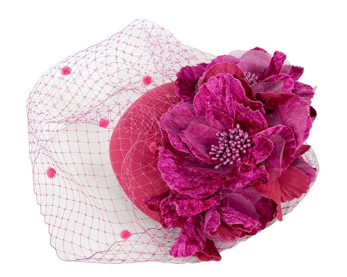 Fascinators Online - Fuchsia Australian Made winter pillbox by Fillies Collection 3